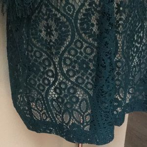 LOFT Tops - Loft Blue Green Lace Fringed Top Size S